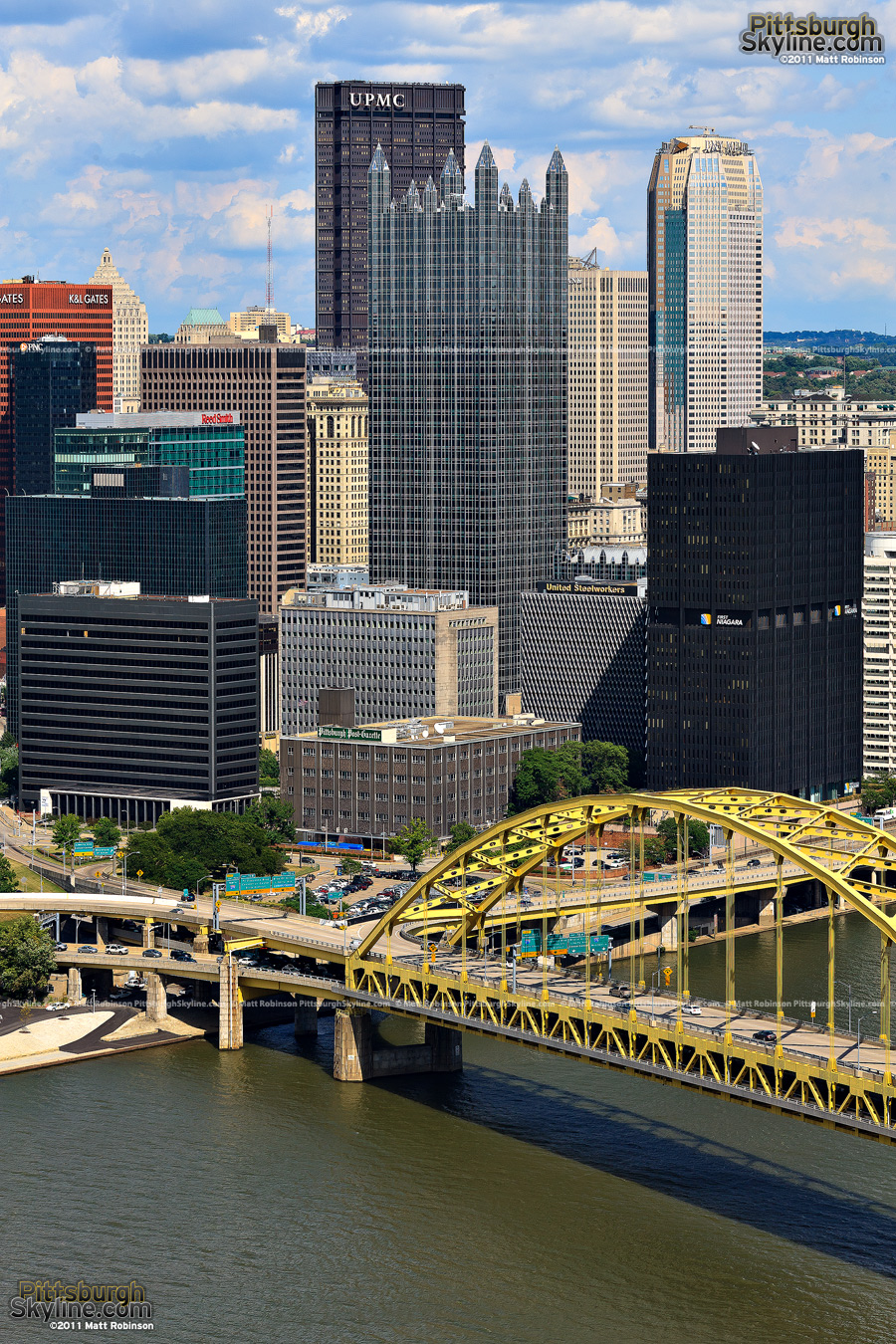 Fort Pitt Bridge with Pittsburgh buildings
