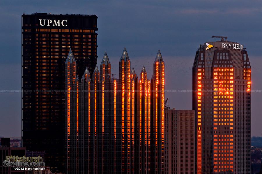 PPG Place and BNY Mellon Center reflect the sun