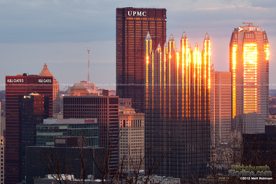 Downtown Pittsburgh reflecting the sun