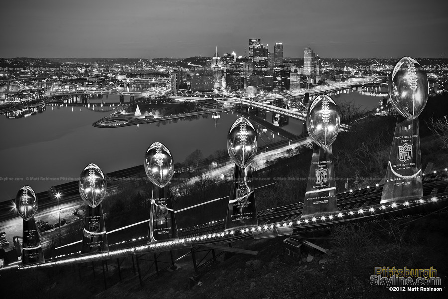 Pittsburgh skyline with Superbowl trophies - Black and White