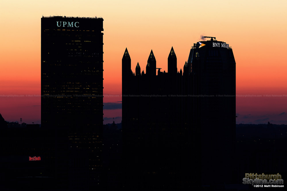 US Steel Building, PPG Place and BNY Mellon Center before sunrise