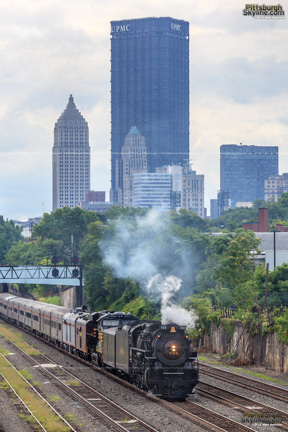 US Steel Building with Iron Horse NKP 765 Steam Locomotive