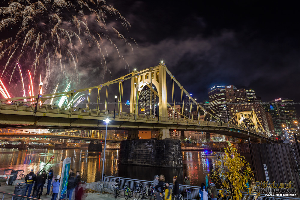 Roberto Clemente Bridge with fireworks during Light Up Night 2012