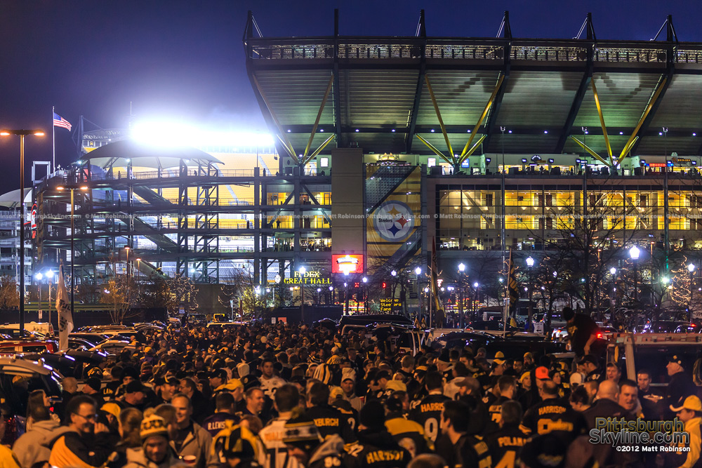 Steelers fans Tailgate outside Heinz Field before a night game