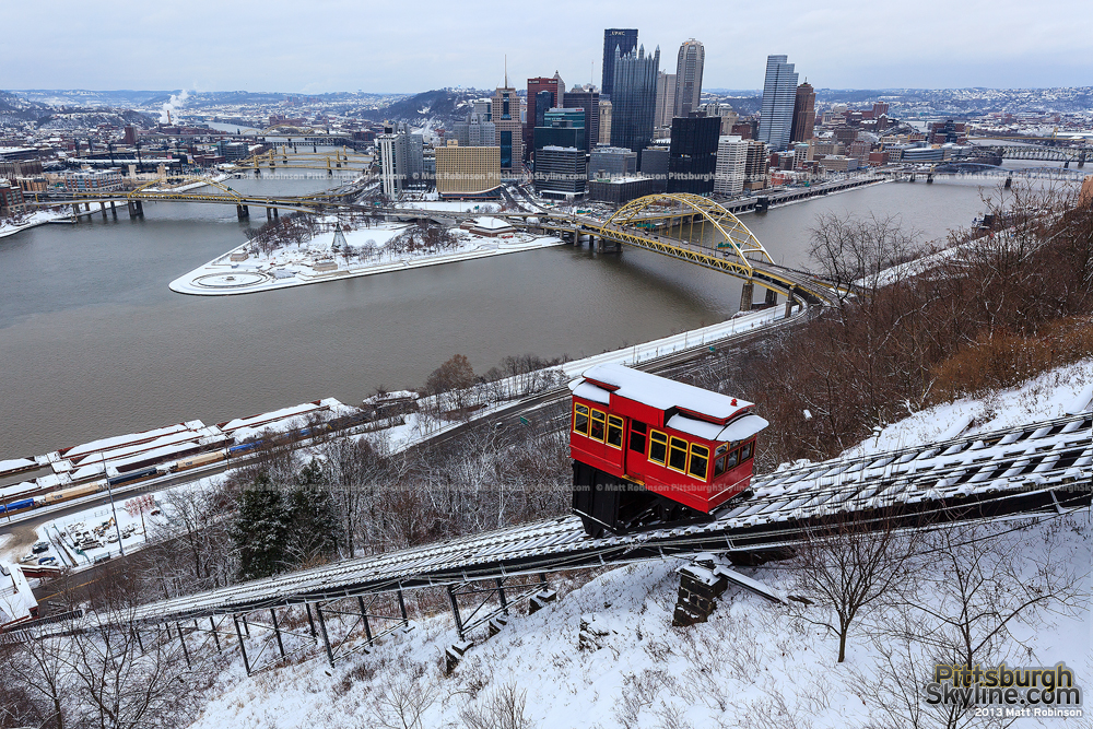 Duquesne Incline and Pittsburgh covered in snow