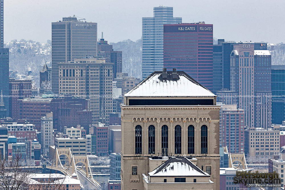 Allegheny General Hospital with snow and Pittsburgh Skyline