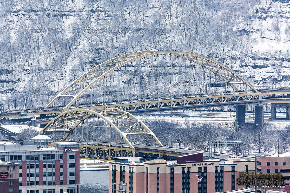 Fort Pitt and For Duquesne Bridge with snow on Mt. Washington