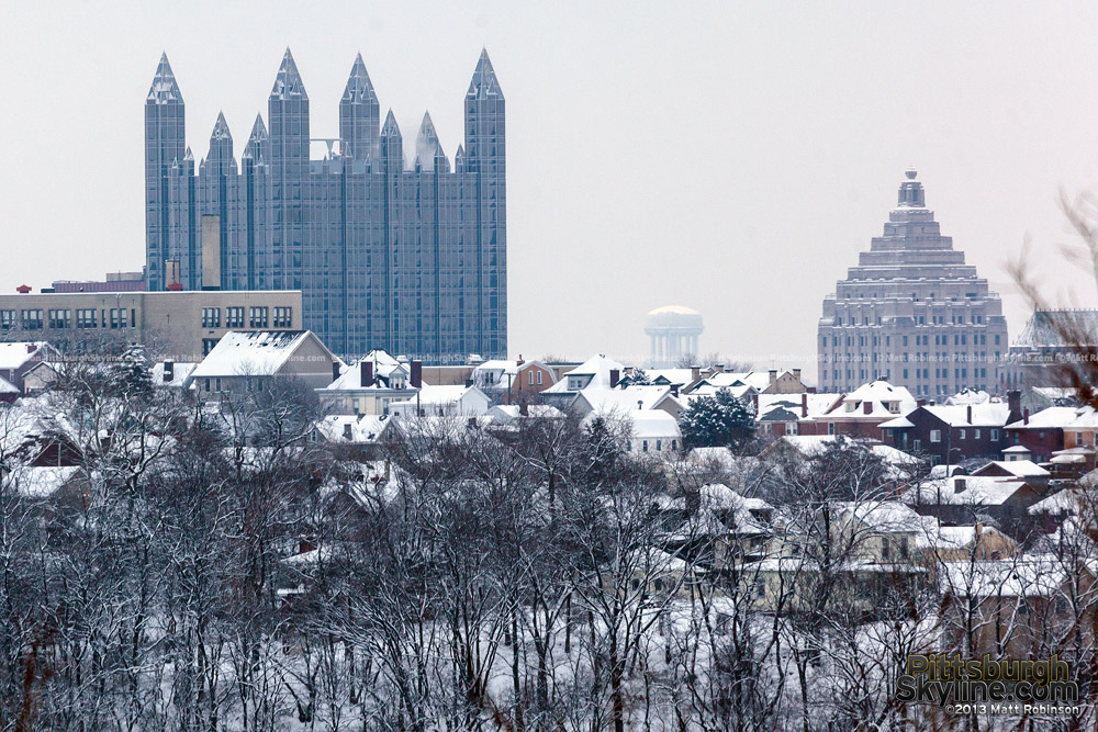 PPG Place and the Gulf Tower from Greentree with snow
