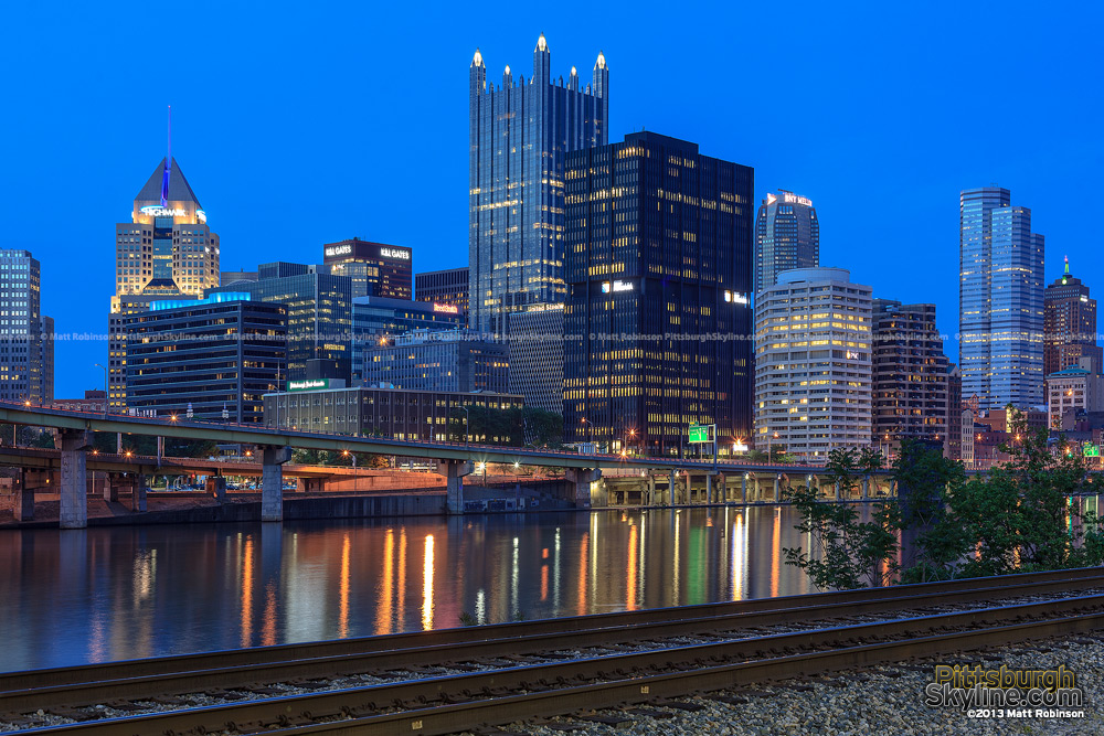 PPG Place and the Monongahela River at night