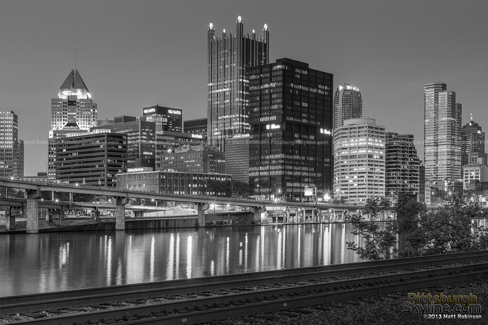 Black and white Pittsburgh from the banks of the Monongahela River
