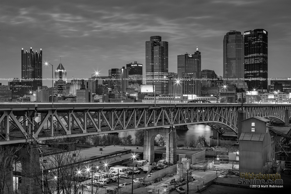 Black and White Pittsburgh Skyline with Liberty Bridge at night