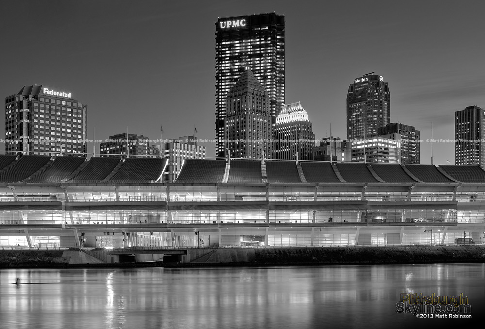Black and White Pittsburgh Skyline with David Lawrence Convention Center