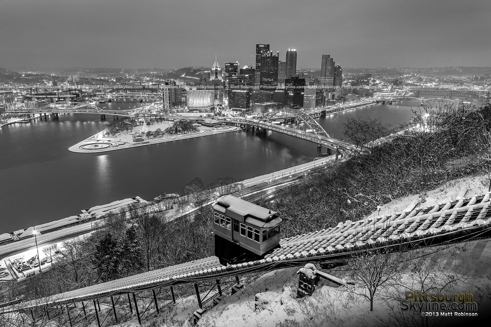 Snowy Black and White Pittsburgh