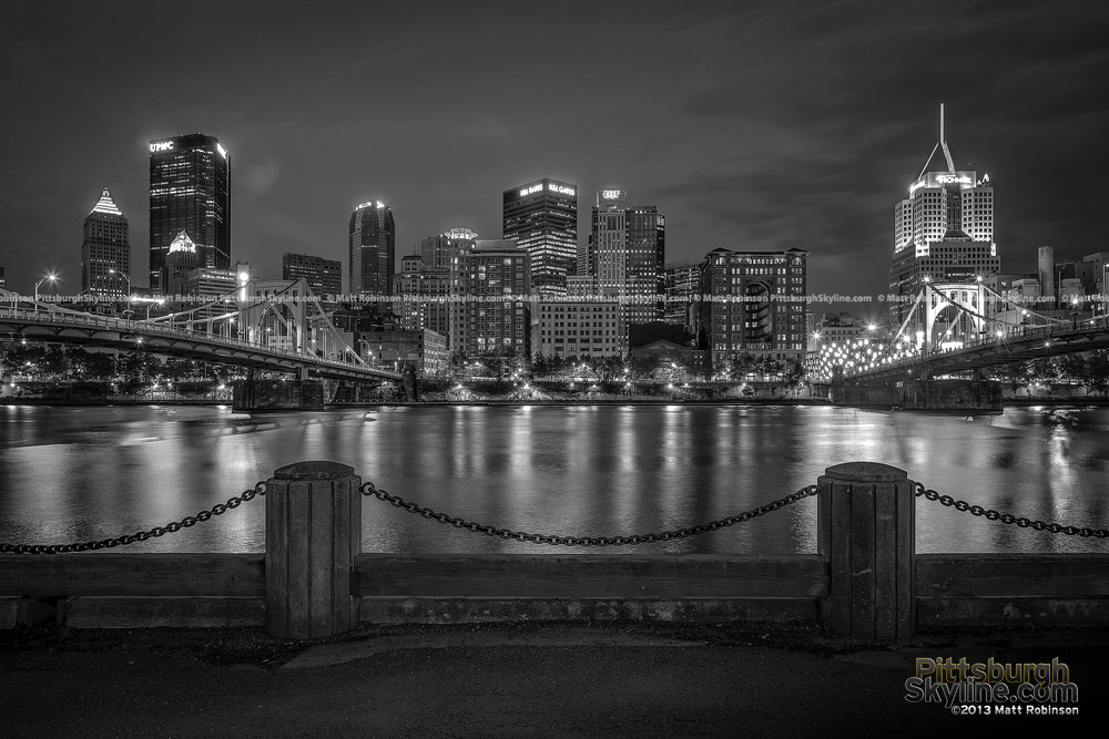 Allegheny River with Pittsburgh Skyline Black and White