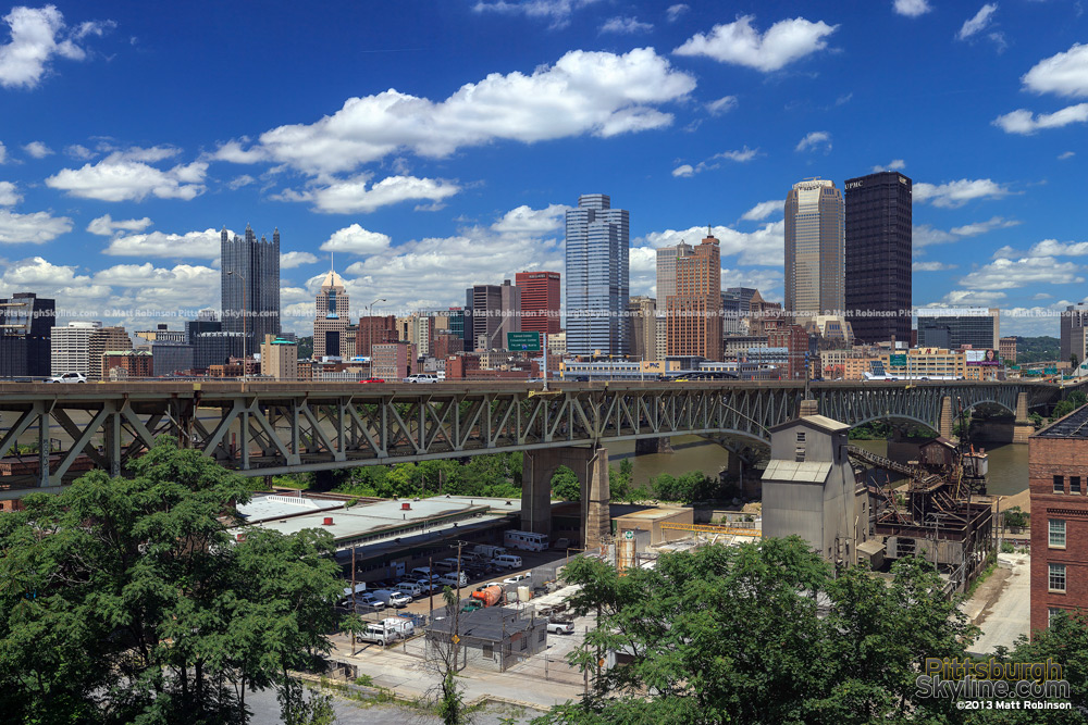 Pittsburgh Skyline with the Liberty Bridge and Blue Skies