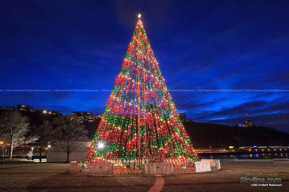 Point State Park Christmas Tree in Pittsburgh at night