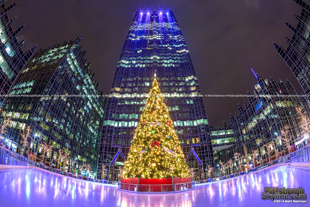 Fisheye of Christmas Tree at PPG Place