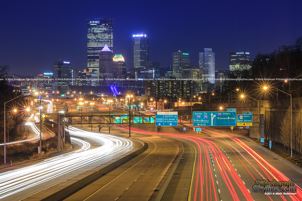 Traffic on 279 with Pittsburgh at night