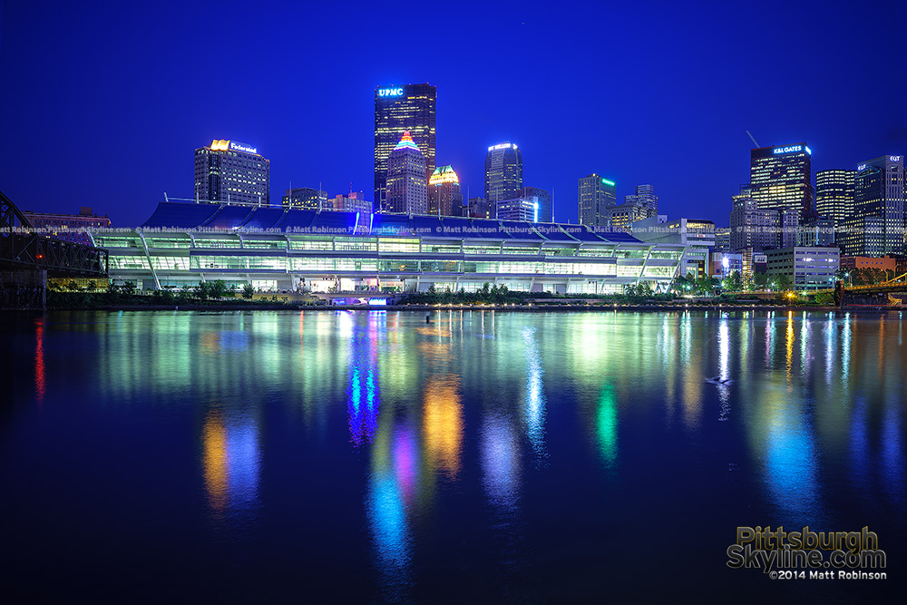 David Lawrence Convention Center at night with the Allegheny River