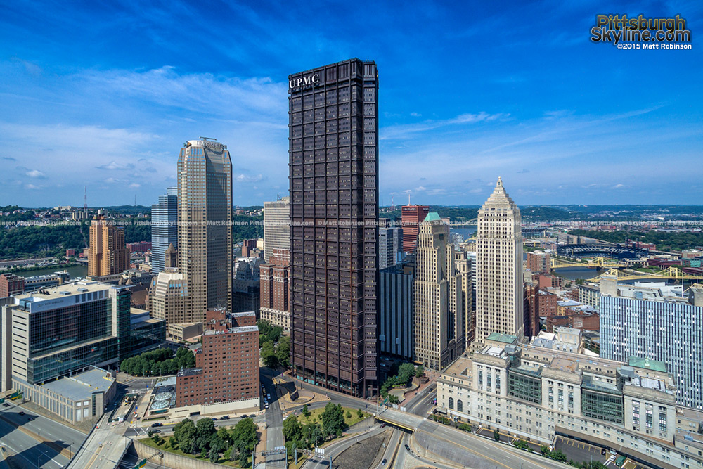 Aerial of the US Steel Tower in downtown Pittsburgh