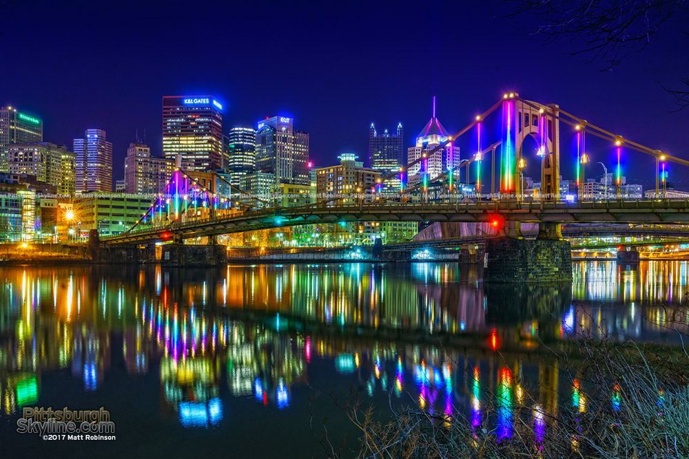 Rainbow LED display on the Rachel Carson Bridge - Energy Flow