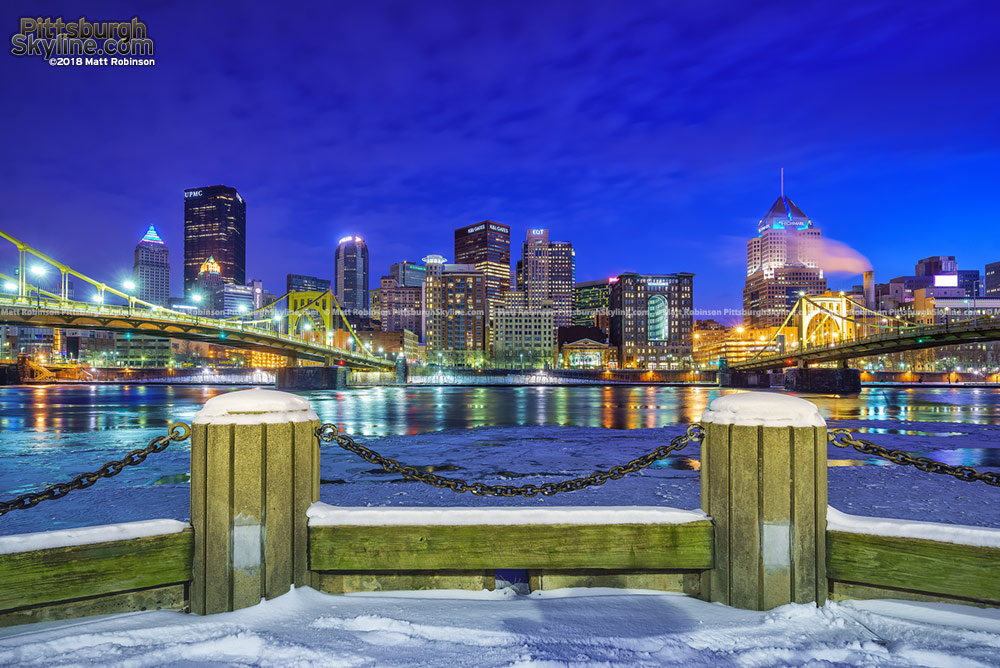 Snow covered North Shore with Pittsburgh Skyline