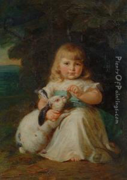 Mary lemon Waller, A little girl with a pet rabbit [http://images.plentyofpaintings.com]