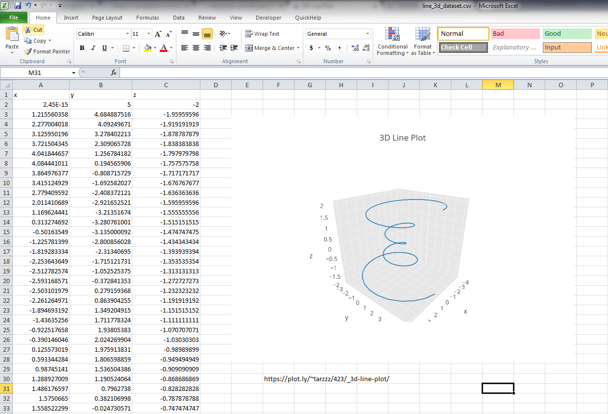 Make A 3d Line Plot Online With Chart Studio And Excel
