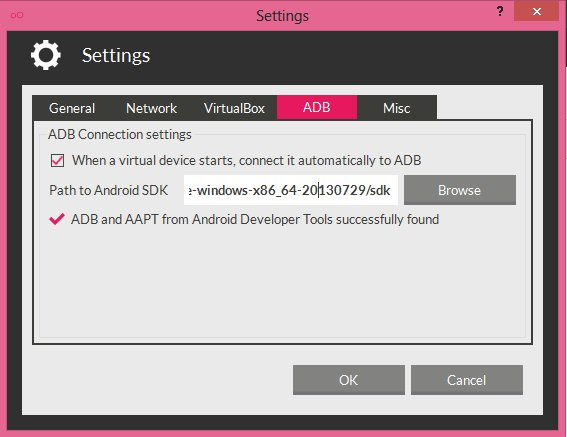 adb setting genymotion
