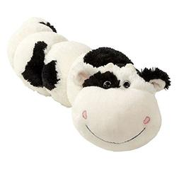 pillow pets black white squiggly cow