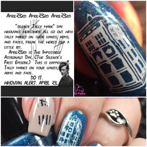 Nail Art Doctor Who Tally Marks Manicure Polish and Paws