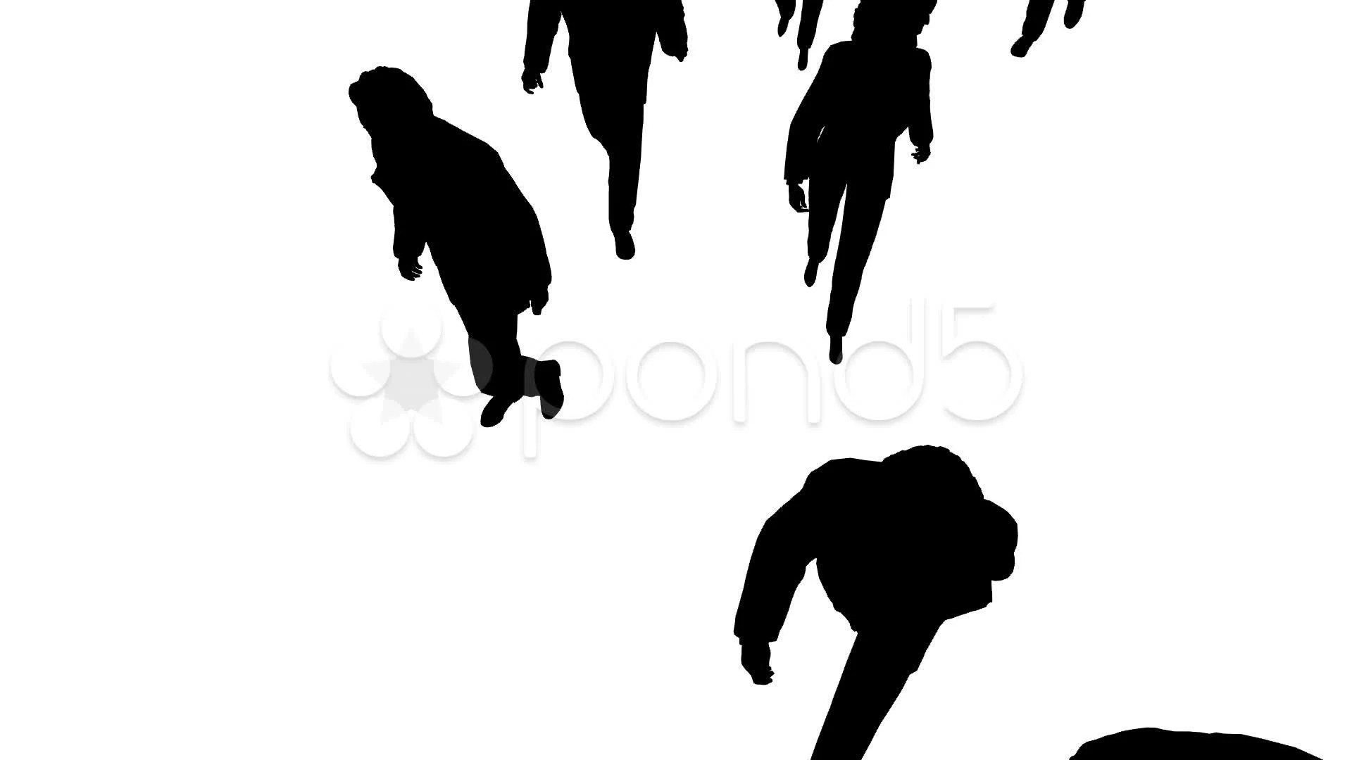 Aerial View Of Silhouette People Walking Forward Clip