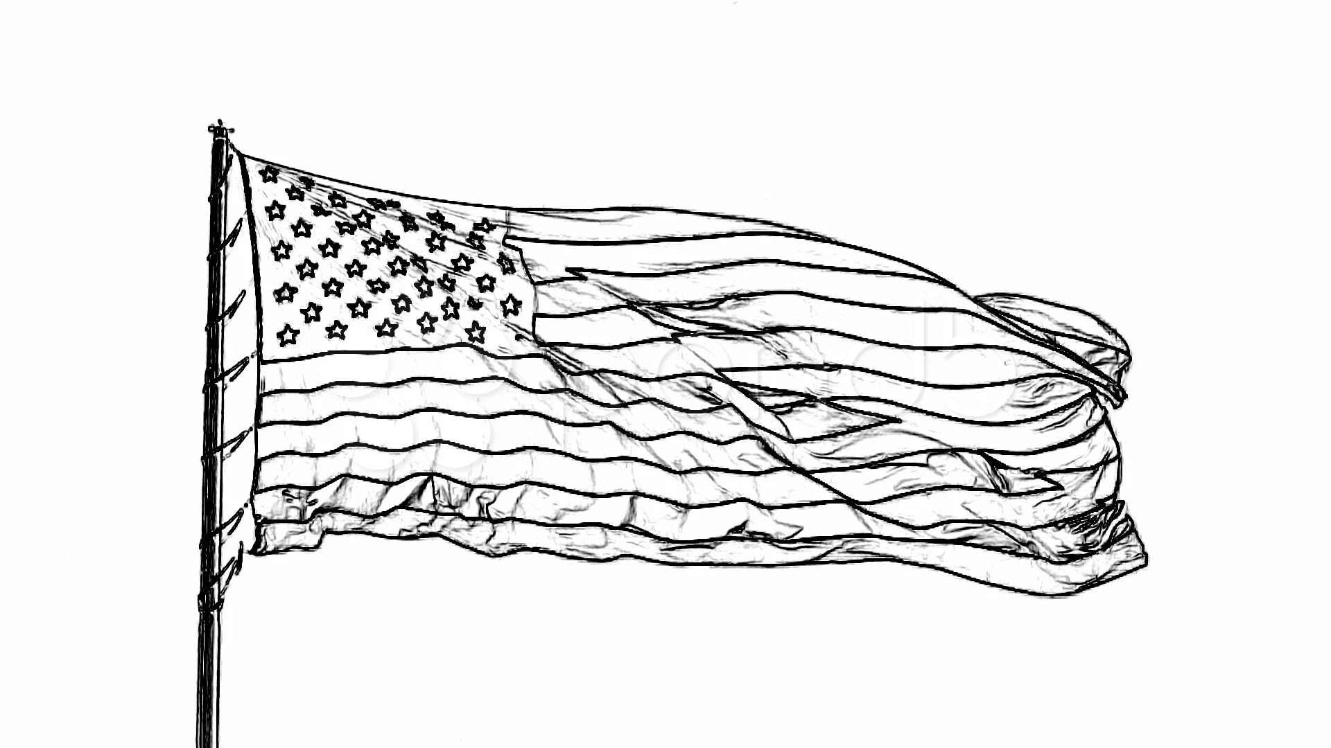 Stock Video Charcoal Stencil American Flag