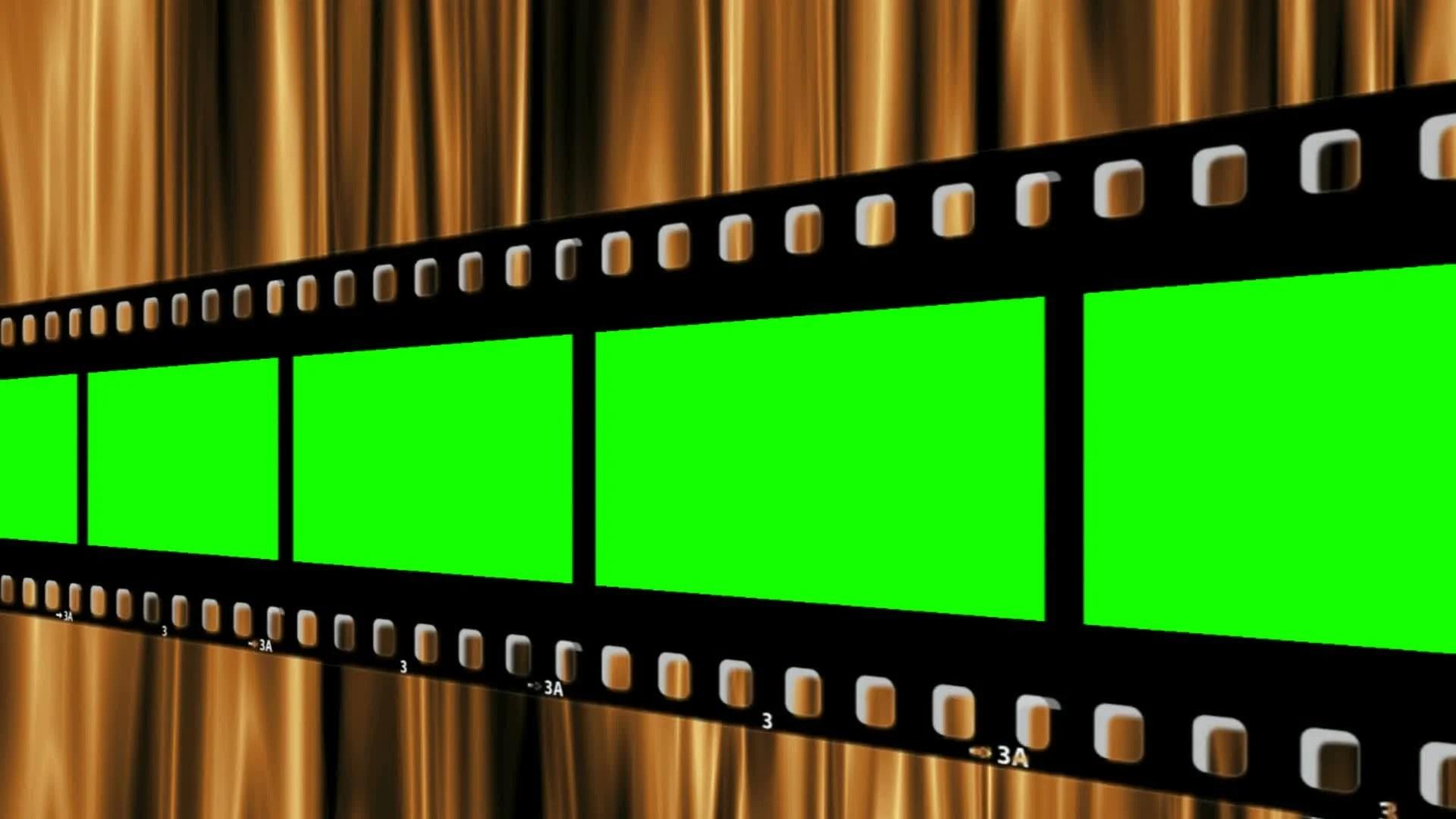 green screen filmstrip on golden curtains