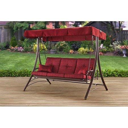 mainstay patio canopy metal porch swing 3 seat solid print callimont park in red