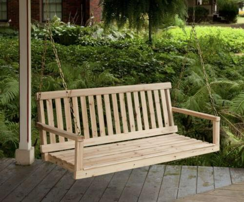 wooden porch swing natural wood patio