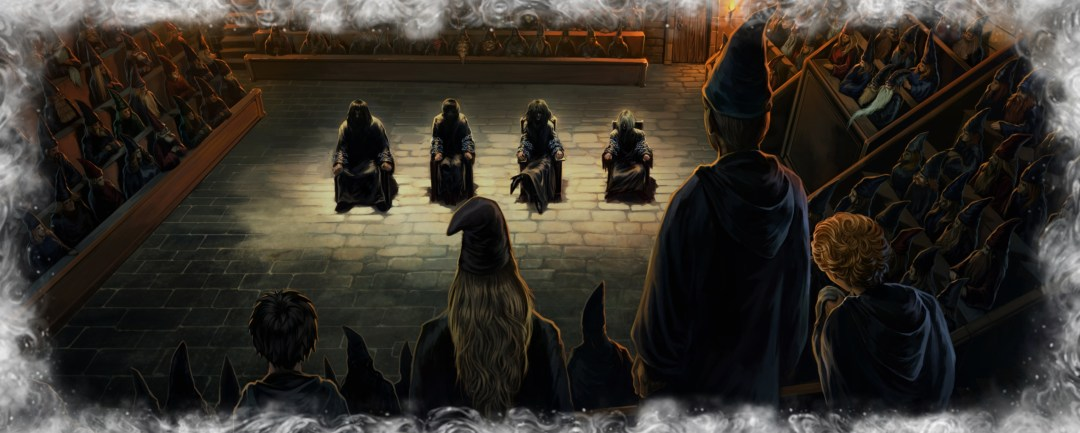 Harry in Dumbledore's memory of the trial of Bartemius Crouch jr. and his fellow Death Eaters