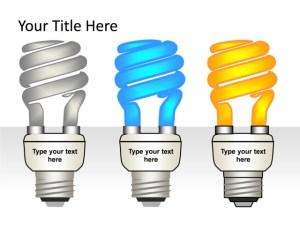 PowerPoint Slide  Light bulb Diagram  3D  3Lightbulbs