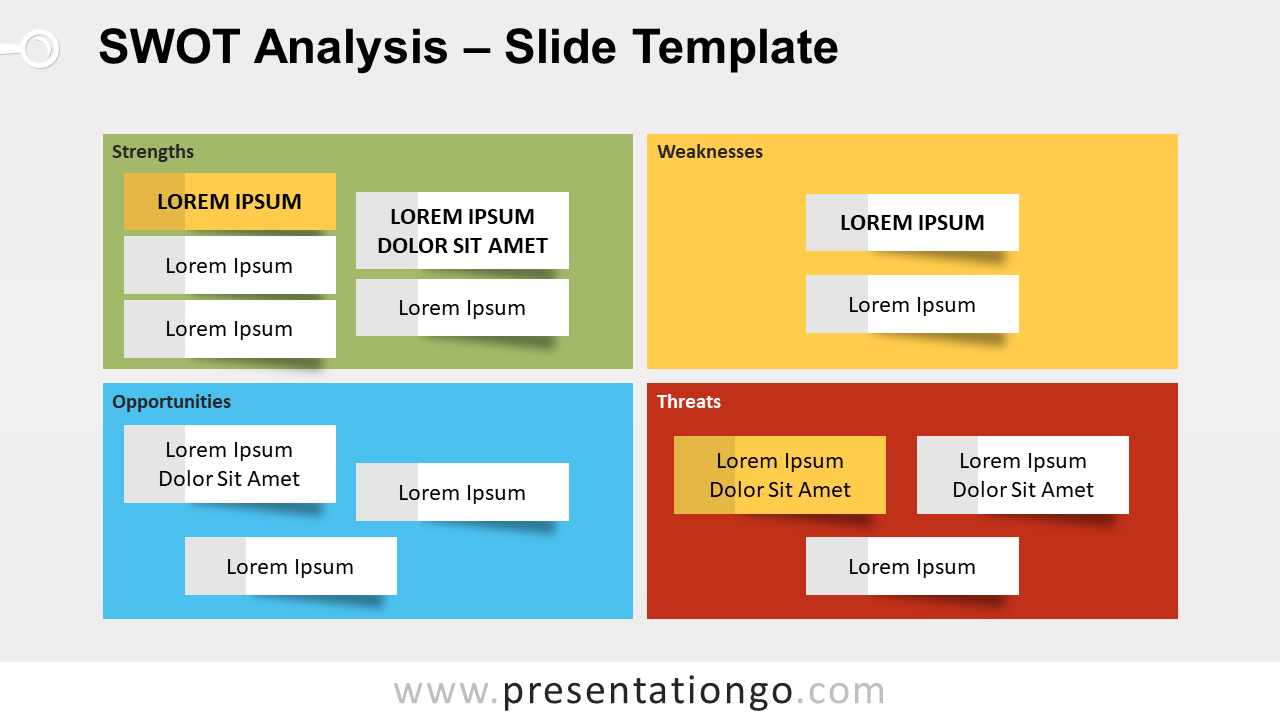 Understanding the backgrounds, current financial status, products, facilities, and strategies employed by your competitors, you will be able to adopt good practices and improve. Swot Analysis Template For Powerpoint And Google Slides Presentationgo