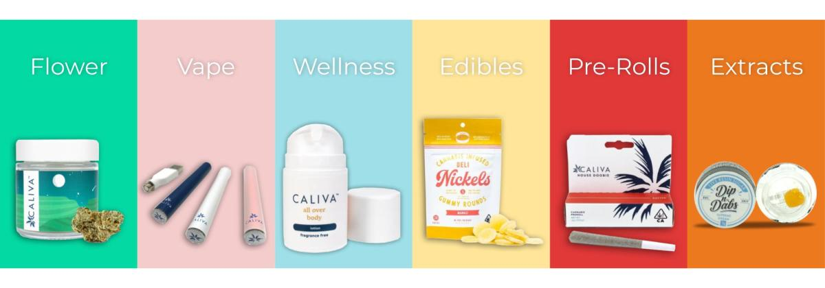 Caliva offers a wide range of popular products including flower, vapes, wellness products, edibles, pre-rolls, and extracts.