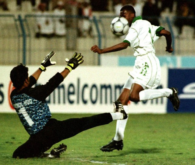 Bangladesh goalkeeper Aminul Haque in the match against Saudi Arabia in the 2001 World Cup qualifiers