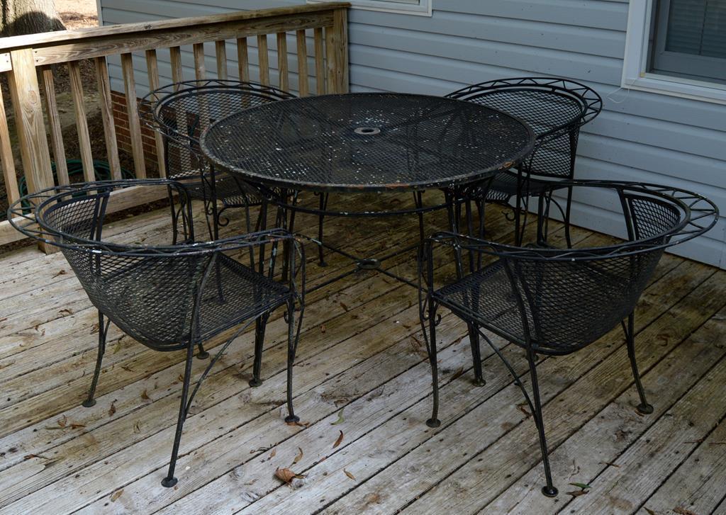 set of 5 vintage salterini iron outdoor
