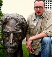 Saulius Paukstys with the Frank Zappa bust     (Arturas Baublys)