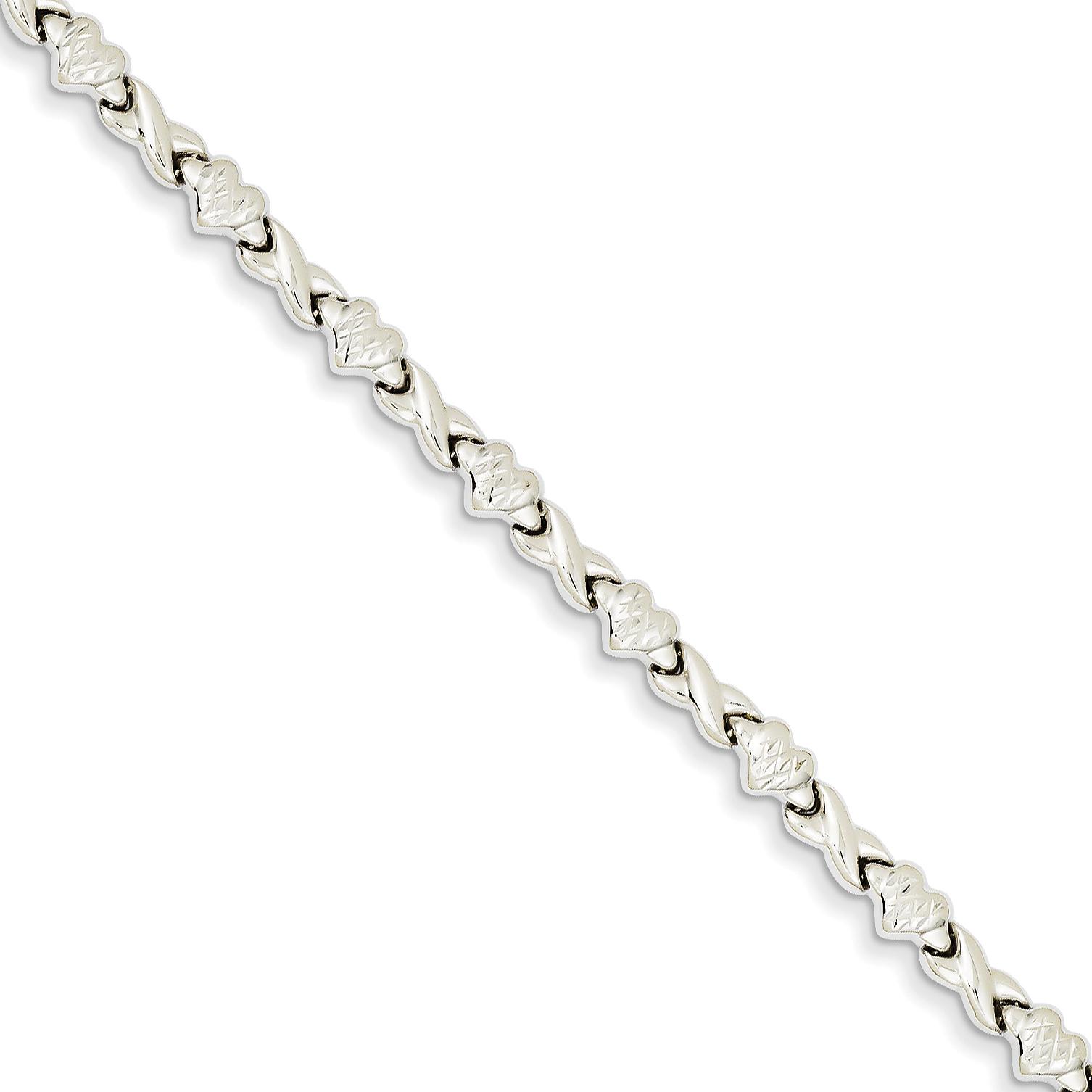 14kt White Gold Heart X Bracelet 7 Inch Love Fine Jewelry