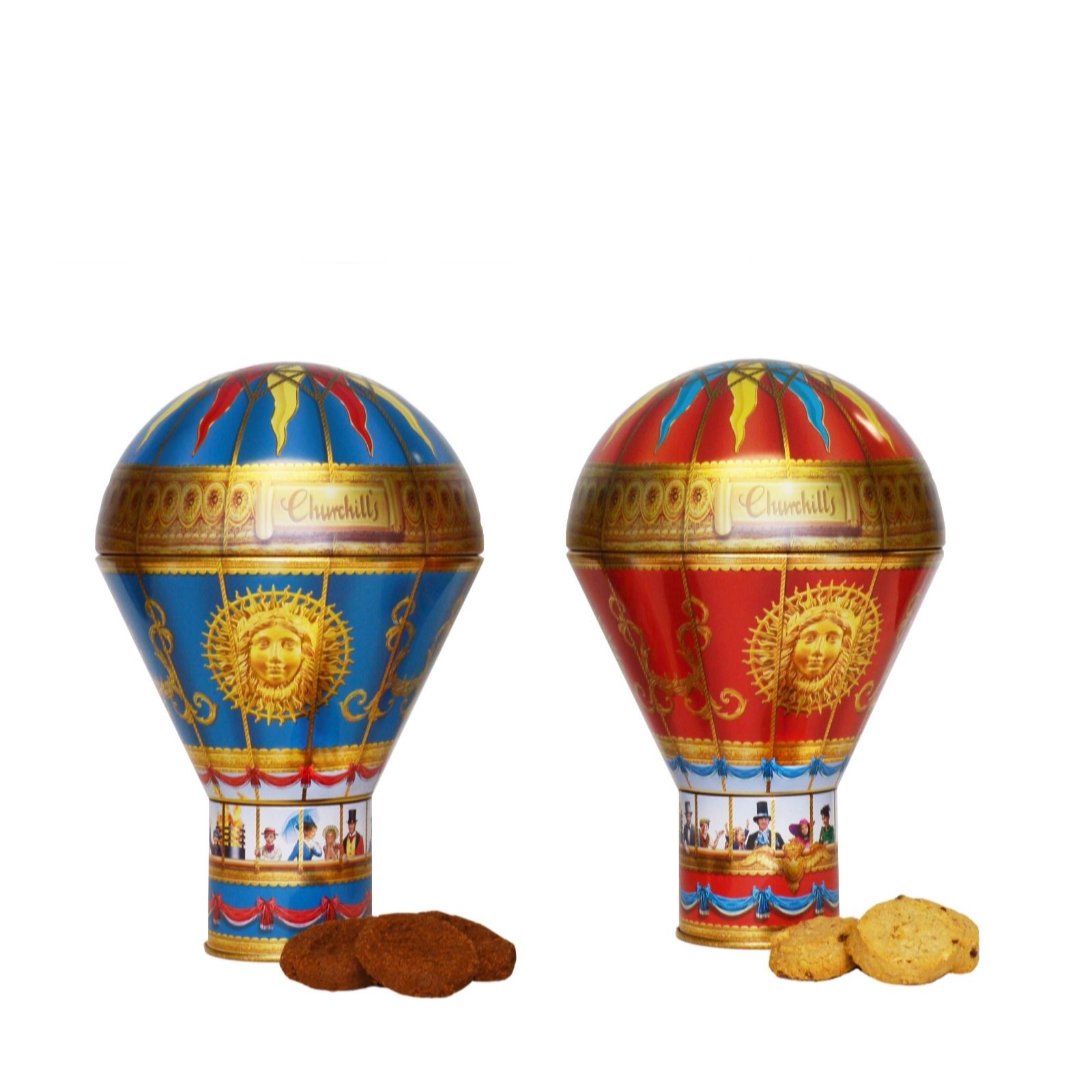 Churchills Confectionery Set Of 2 Hot Air Balloon Tins With Biscuits QVC UK