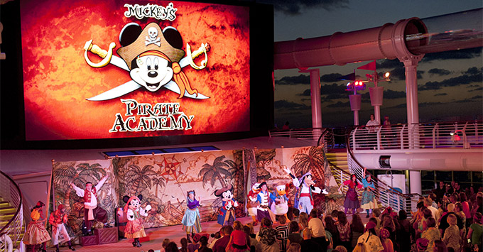 Aerial shot of the Pirate Night crowd dancing on Disney Fantasy