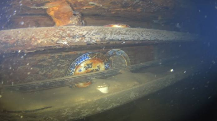 Artifacts such as his ceramic plates were filmed inside the wreck of HMS Terror during an expedition led by a team of archaeologists from the Parks Canada Agency.