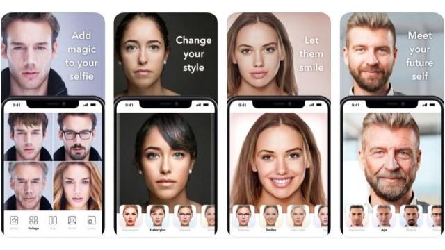 Une capture d'écran montrant des exemples de photos modifiées à l'aide de FaceApp.