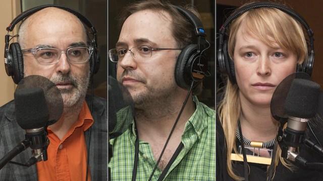 Alain Brunet, Danick Trottier et Frannie Holder au micro de Catherine Perrin.