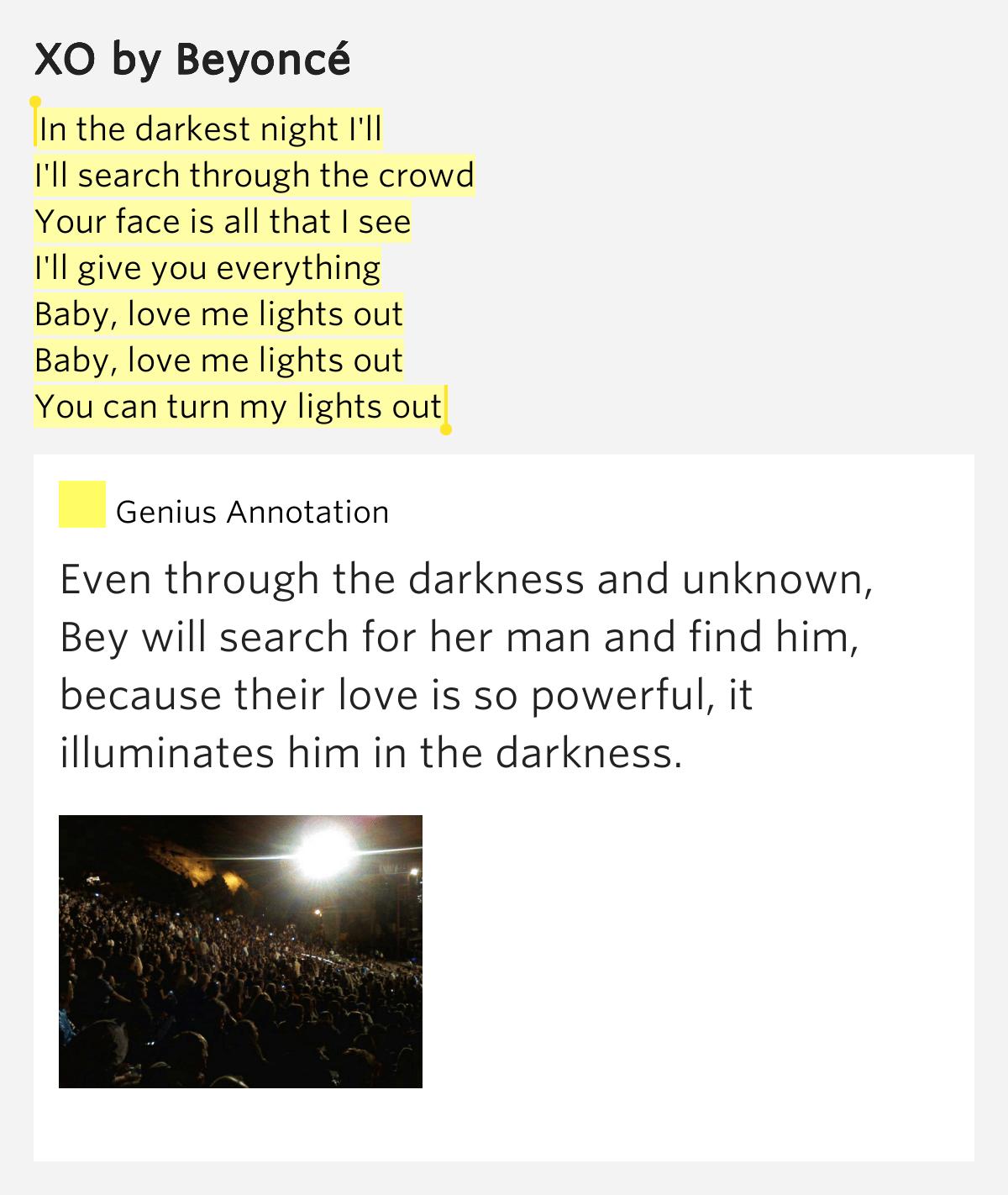 Beyonce Baby Love Me Lights Out Lyrics